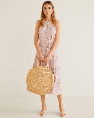 Платье миди с цветочным принтом с американской проймой Mango
