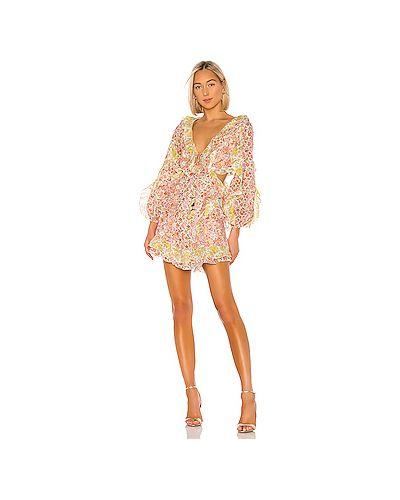 Платье мини с декольте с оборками Zimmermann
