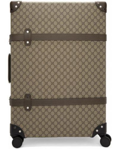 Czarna walizka skórzana klamry Gucci
