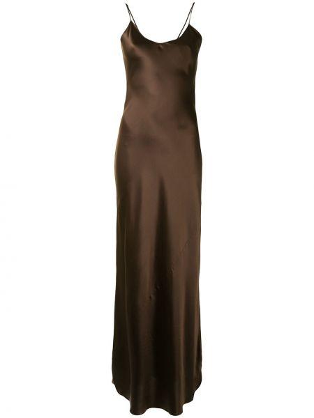 Шелковое тонкое платье макси на бретелях с V-образным вырезом Nili Lotan