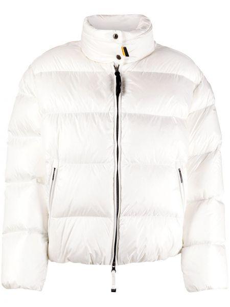 С рукавами белая длинная куртка с карманами с перьями Parajumpers