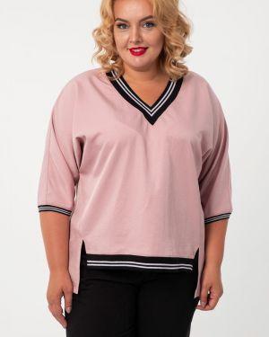 Блузка розовая с V-образным вырезом Wisell