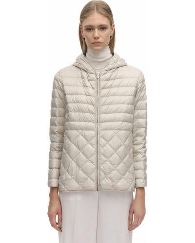 Пуховая бежевая куртка с капюшоном 's Max Mara