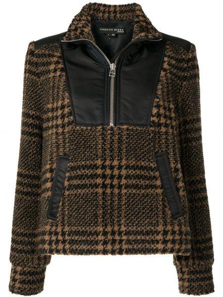С рукавами коричневая куртка в клетку на молнии Veronica Beard
