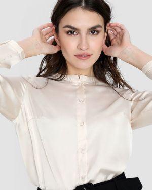 Блузка с длинным рукавом сатиновая с вырезом Ostin