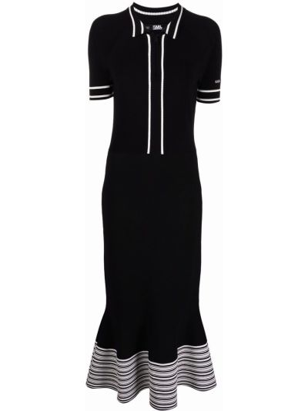 Прямое черное платье миди с воротником Karl Lagerfeld