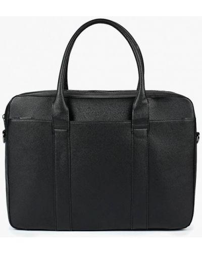 Черная кожаная сумка Topman