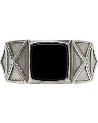 С ониксом серебряное кольцо квадратное Emanuele Bicocchi