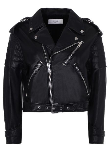 Кожаная куртка черная на молнии Céline