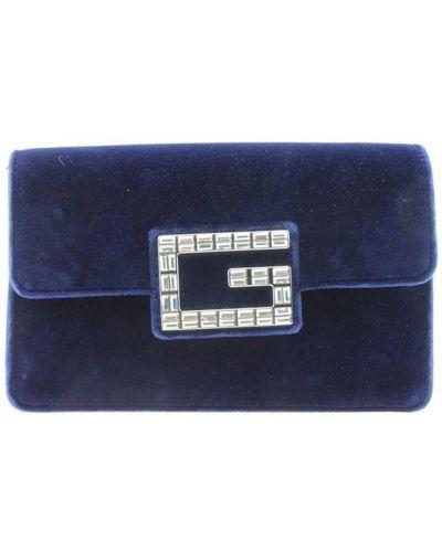 Niebieska torebka zamszowa zapinane na guziki Gucci