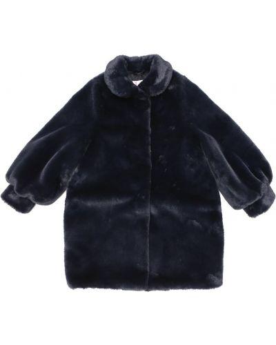 Синее пальто из искусственного меха с подкладкой Il Gufo
