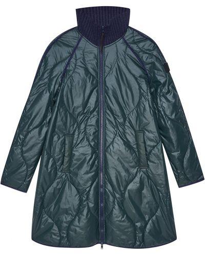 Стеганое пальто демисезонное зеленое Novaya