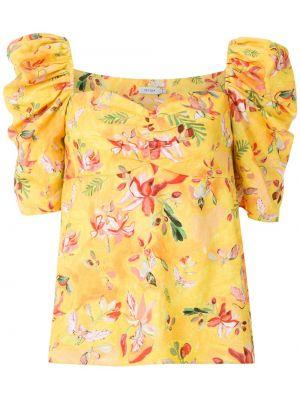 С рукавами желтая блузка из вискозы Isolda
