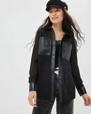Блузка с длинным рукавом весенний черная Gepur