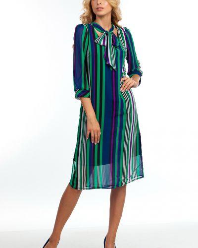 Платье миди в полоску из штапеля Kapsula