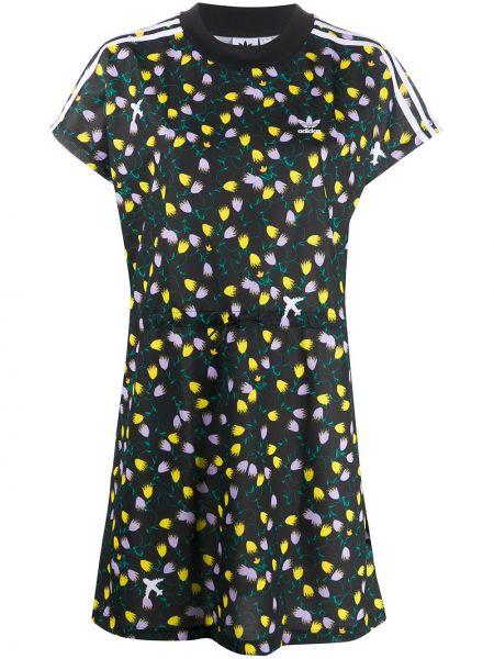 Черное платье мини с вышивкой в цветочный принт Adidas