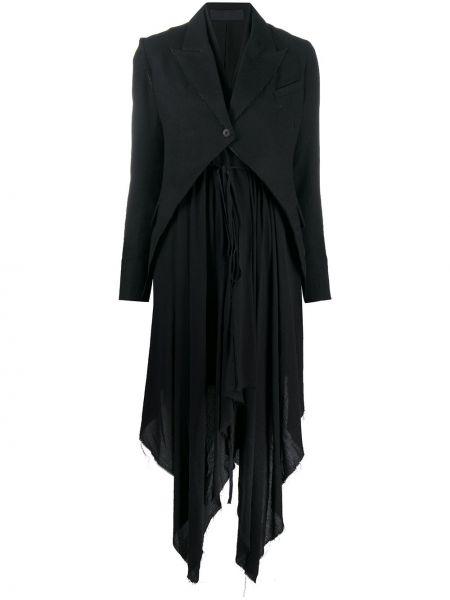 С кулиской шерстяное черное длинное пальто Marc Le Bihan