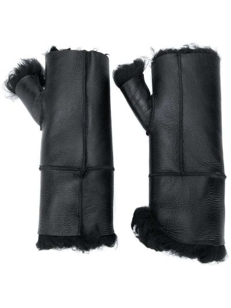 Czarne rękawiczki skorzane Yves Salomon