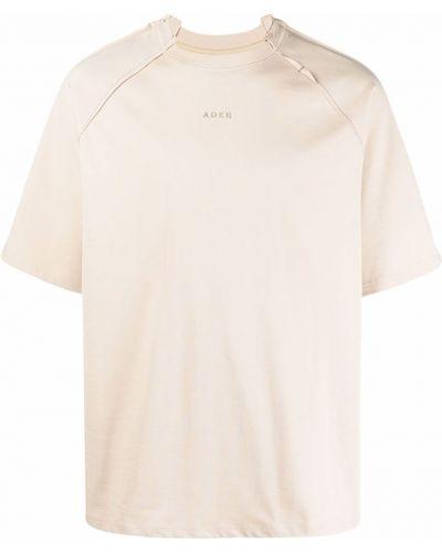 T-shirt bawełniana - beżowa Ader Error