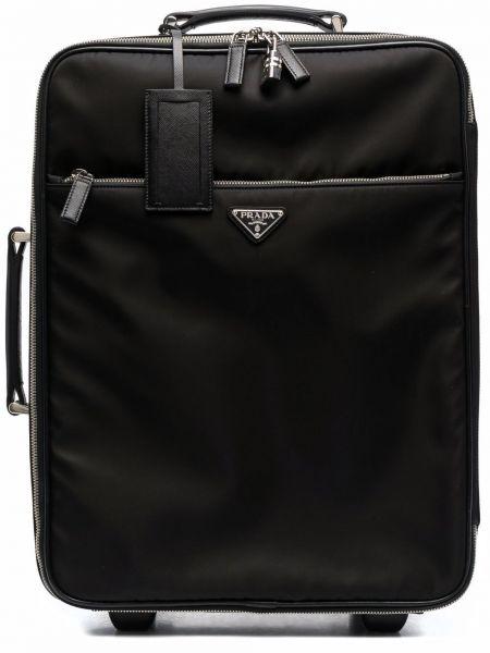 Czarna walizka skórzana Prada