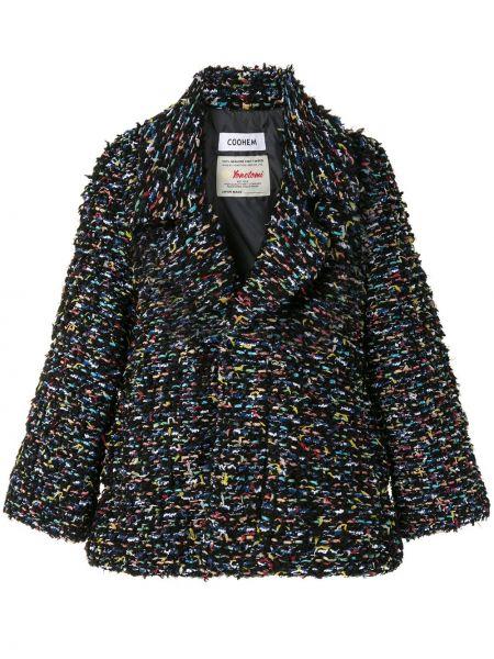Черное длинное пальто твидовое свободного кроя с перьями Coohem