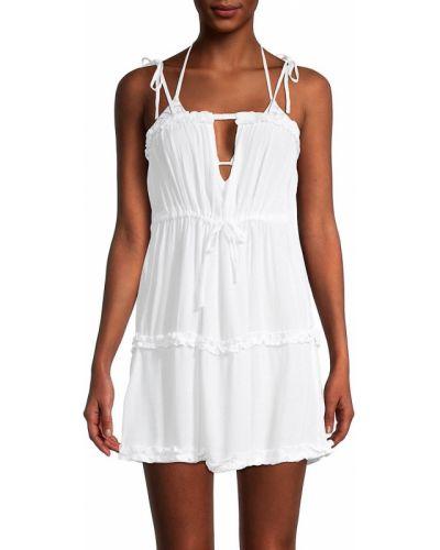 Белое купальное платье с декольте на бретелях Bcbgeneration