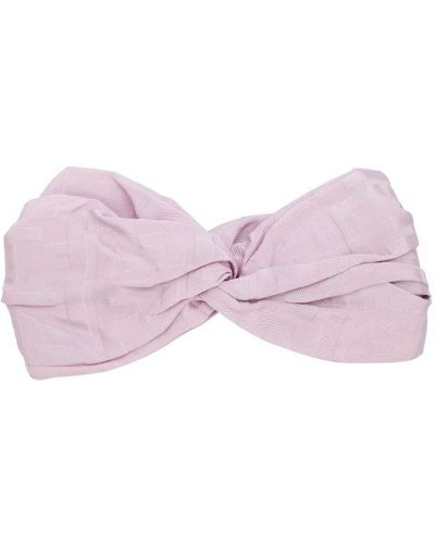 Jedwab różowy opaska na głowę Fendi