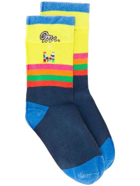 Синие нейлоновые носки в рубчик с декоративной отделкой Mira Mikati