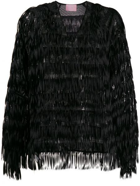 Czarna bluzka z długimi rękawami z dekoltem w serek Giamba