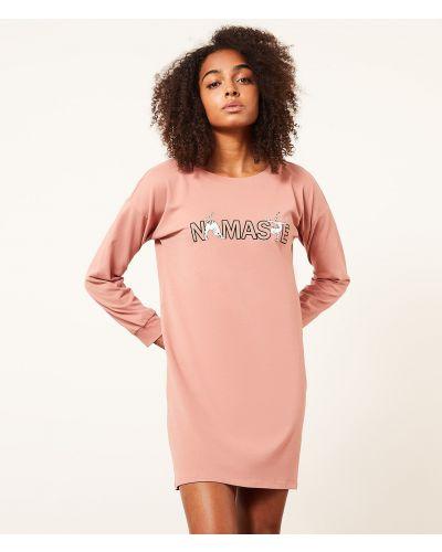 Koszula nocna z długimi rękawami - różowa Etam
