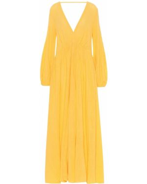 Желтое платье макси с капюшоном Kalita