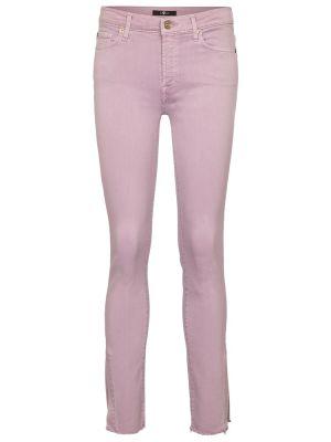 Хлопковые фиолетовые зауженные укороченные джинсы 7 For All Mankind