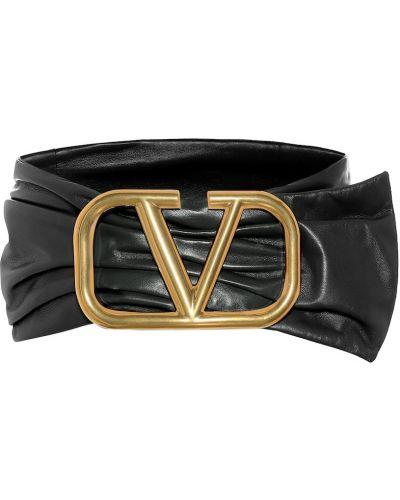 Кожаный черный широкий ремень с поясом свободного кроя Valentino Garavani