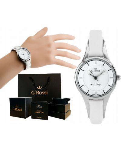 Biały klasyczny zegarek na skórzanym pasku srebrny Gino Rossi