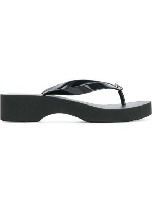 Открытые черные сланцы с открытым носком без застежки Tory Burch