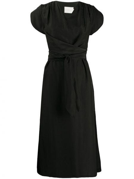 Черное приталенное платье миди с запахом на молнии Neul
