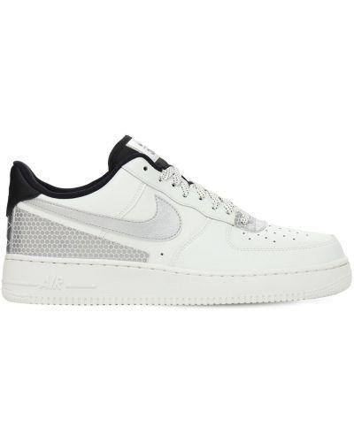 Skórzany biały sneakersy perforowany na sznurowadłach Nike