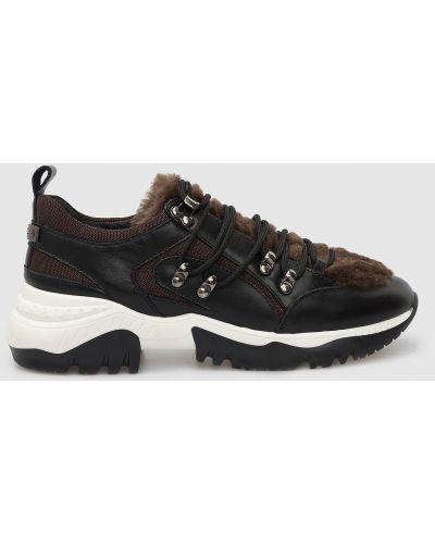 Кожаные кроссовки - черные Peserico
