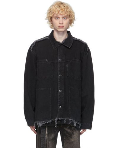 Черная джинсовая куртка с манжетами с карманами с воротником Ottolinger