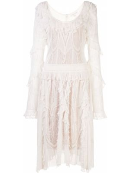 Расклешенное платье прозрачное на молнии с оборками Zuhair Murad