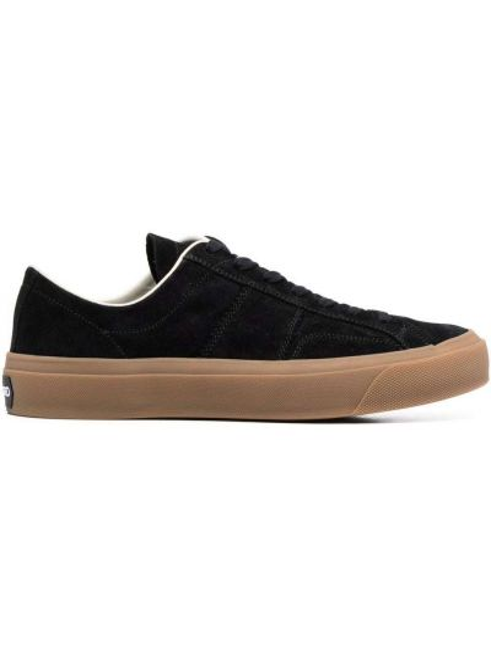 Czarne sneakersy skorzane na obcasie Tom Ford
