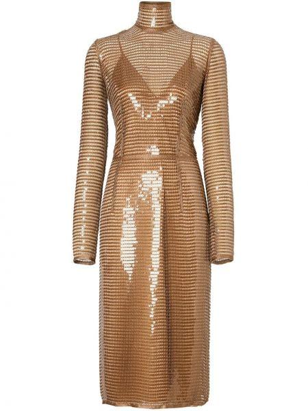 Шелковое платье миди - желтое Burberry