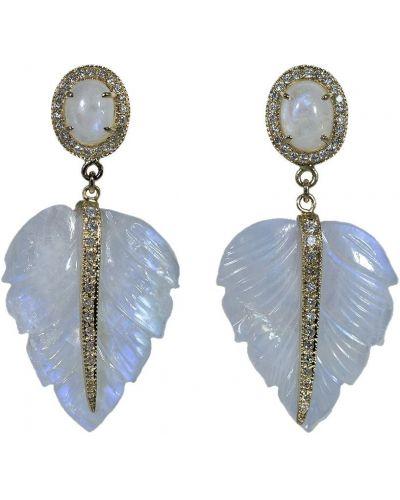 Белые золотые серьги с камнями с подвесками Jacquie Aiche