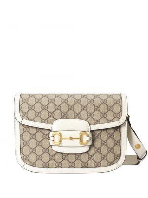 Парусиновая кожаная сумка позолоченная Gucci