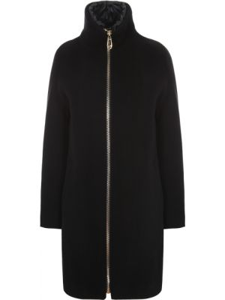 Теплое черное шерстяное пальто с воротником Montecore