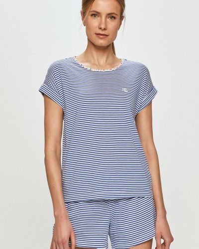 Niebieska piżama bawełniana krótki rękaw Lauren Ralph Lauren