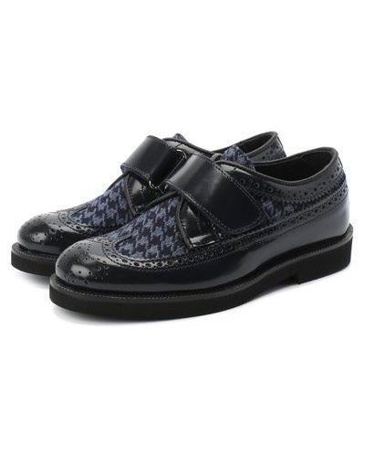 Синие детские кожаные туфли с подкладкой Rondinella