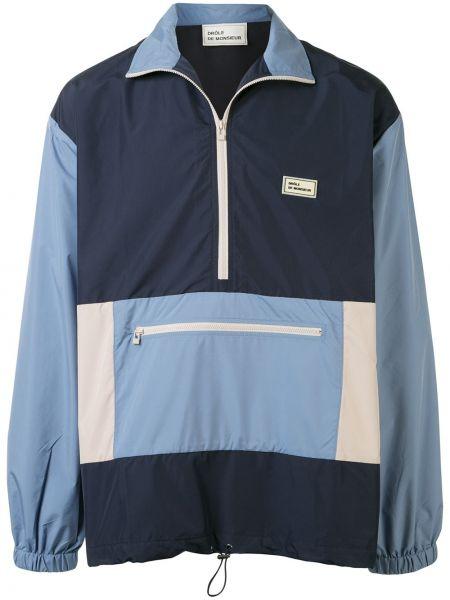 Niebieska długa kurtka z długimi rękawami oversize Drole De Monsieur