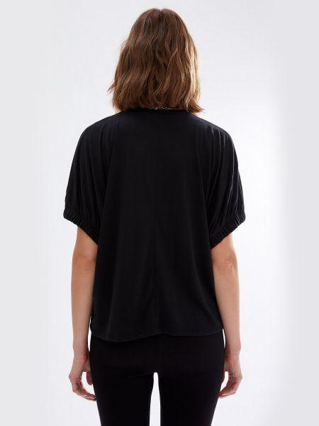 Свободная черная футболка с воротником Defacto