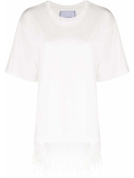 Хлопковая с рукавами белая рубашка с коротким рукавом с перьями Philosophy Di Lorenzo Serafini
